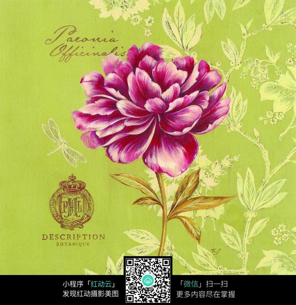 手绘花朵树叶装饰画