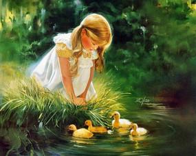 水边的小女孩油画素材