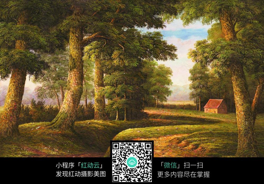 树林小木屋风景画图片