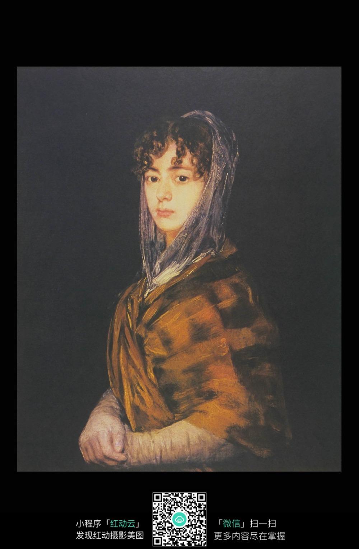 头巾少女人物肖像画