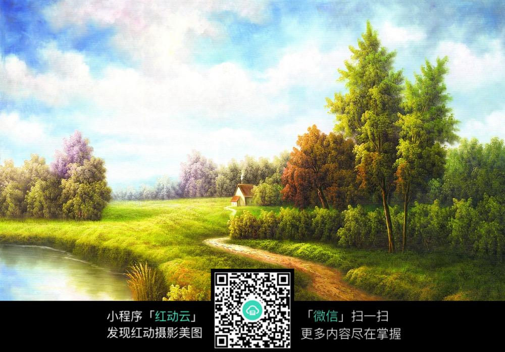 乡村林间小路风景画
