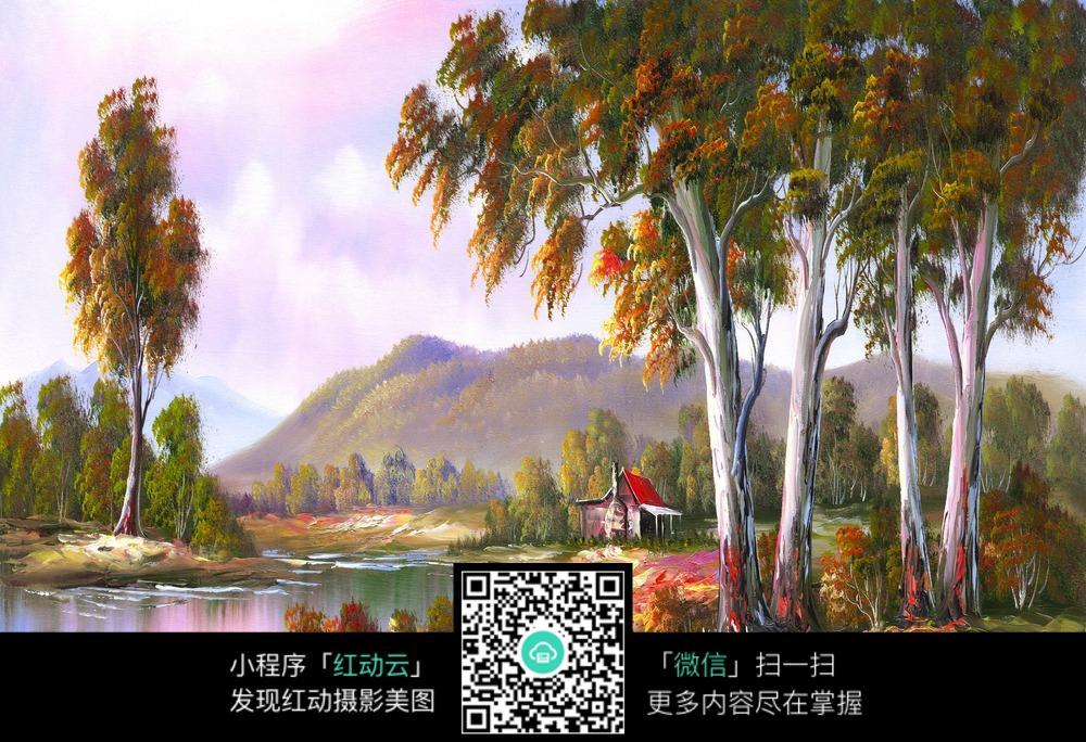 乡村树林小屋风景画