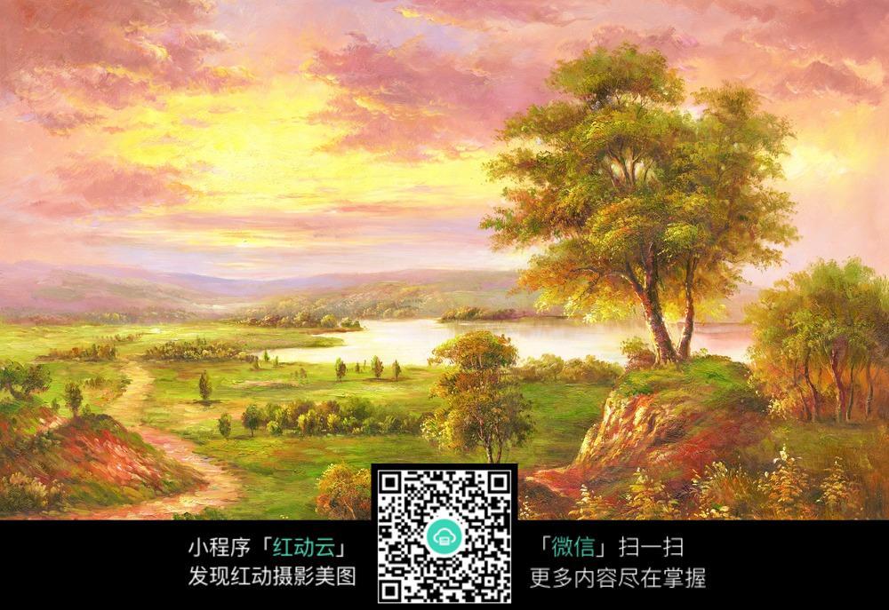 野外夕阳下的风景油画图片
