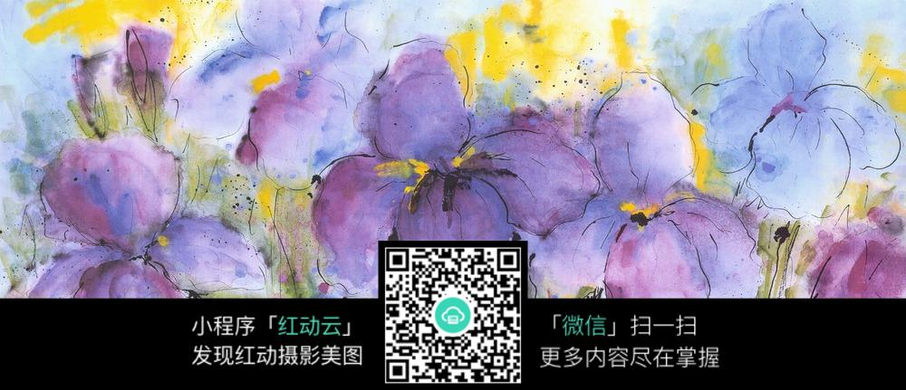 紫色花朵水彩装饰画图片