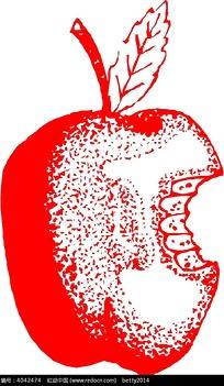 被牙齿咬过的红色苹果插画