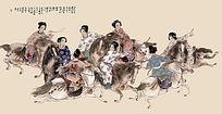 古代骑马仕女图