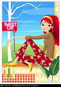 坐在窗台上的美丽女孩插画