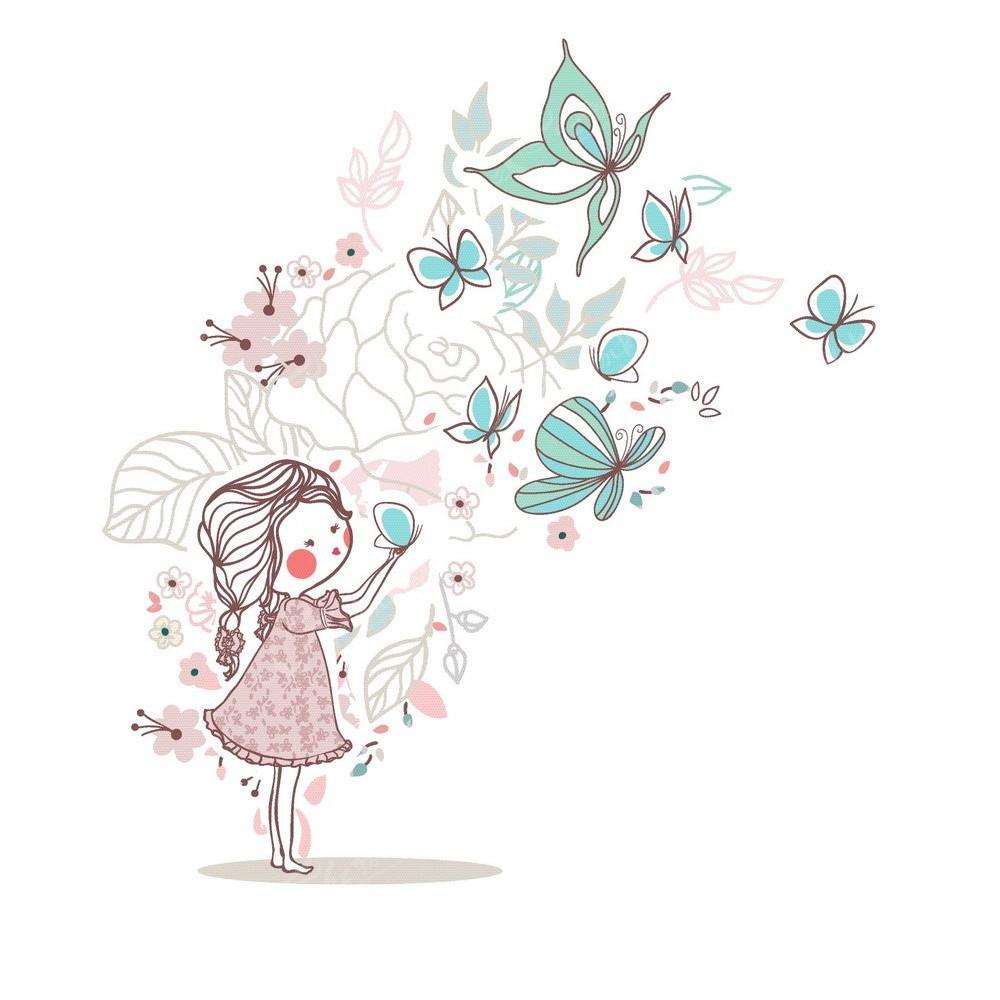 手绘矢量人物蝴蝶花朵插画