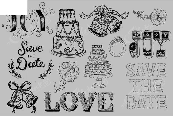 黑白线描婚礼用品元素