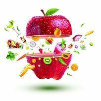 冰箱苹果水果美食素材