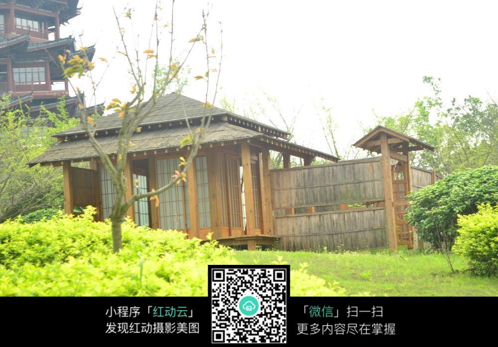 草地上的木屋图片