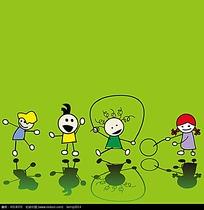 抽象卡通小孩插画图形