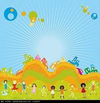 牵手站在绿草地上的小学生插画