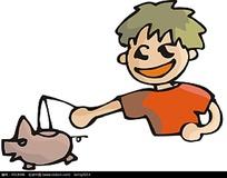 手拿卡通玩具的小男孩插画