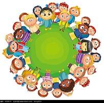站在圆形绿地上的小学生插画