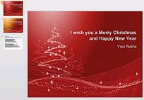 红色圣诞节PPT背景模板