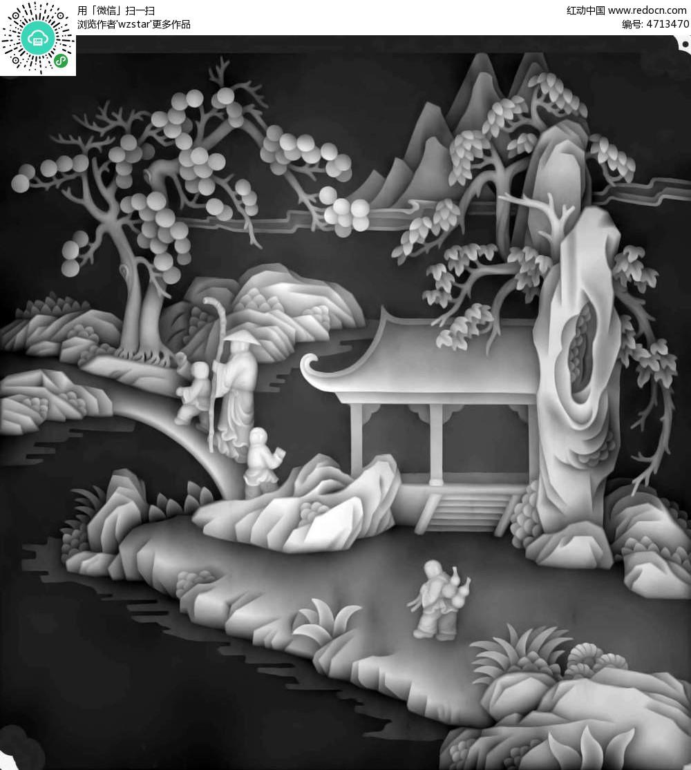 浮雕图模板 浮雕 雕花 灰度图 黑白 精雕图 山水画 亭台楼阁 树木