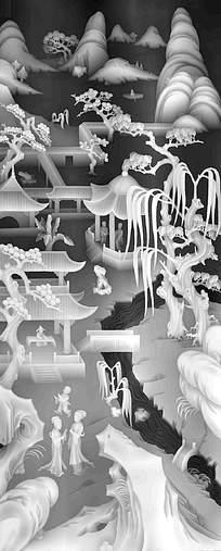 古代中国风亭台楼阁黑白浮雕画
