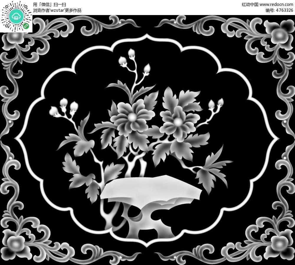中国风花朵植物黑白浮雕图