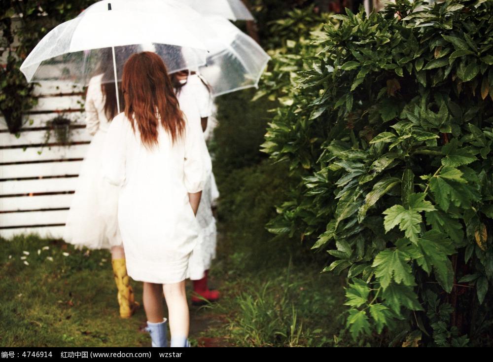 伞下的女孩  撑伞走路的女孩
