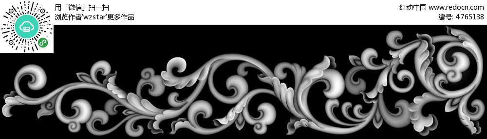 古代花朵花纹黑白浮雕画