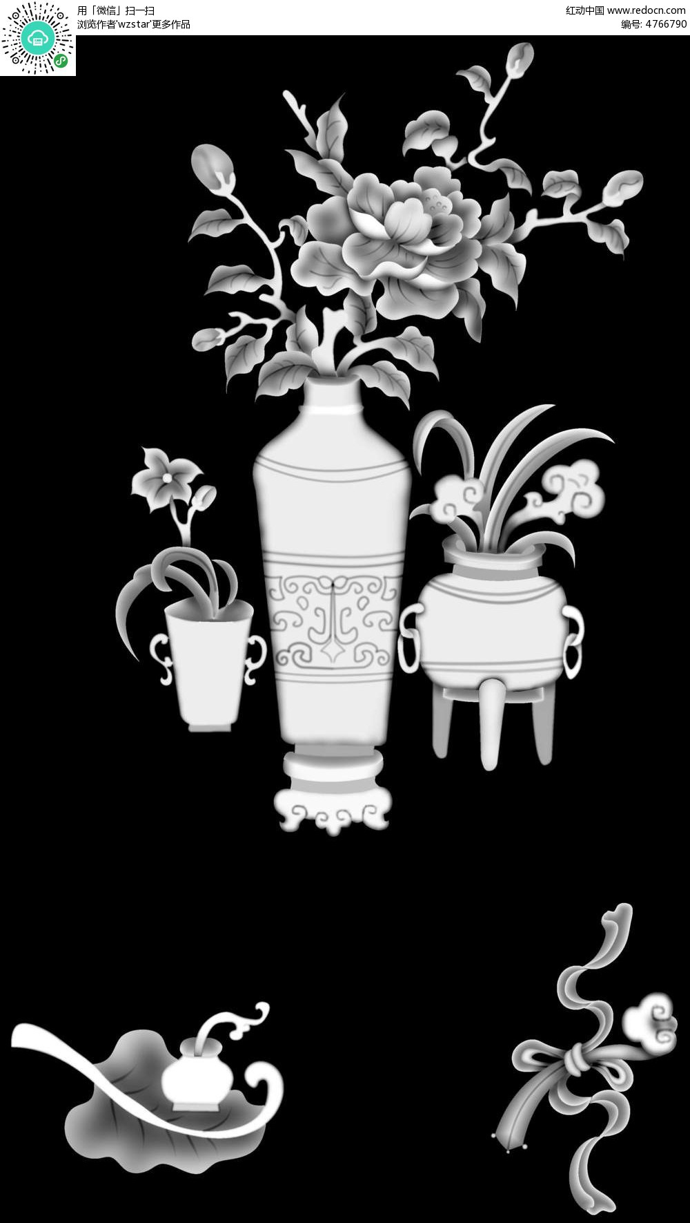 花朵花瓶植物黑白浮雕画