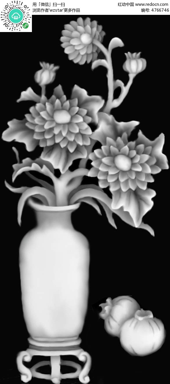 中国风花瓶花朵黑白浮雕图其他素材免费下载 编号4766746 红动网