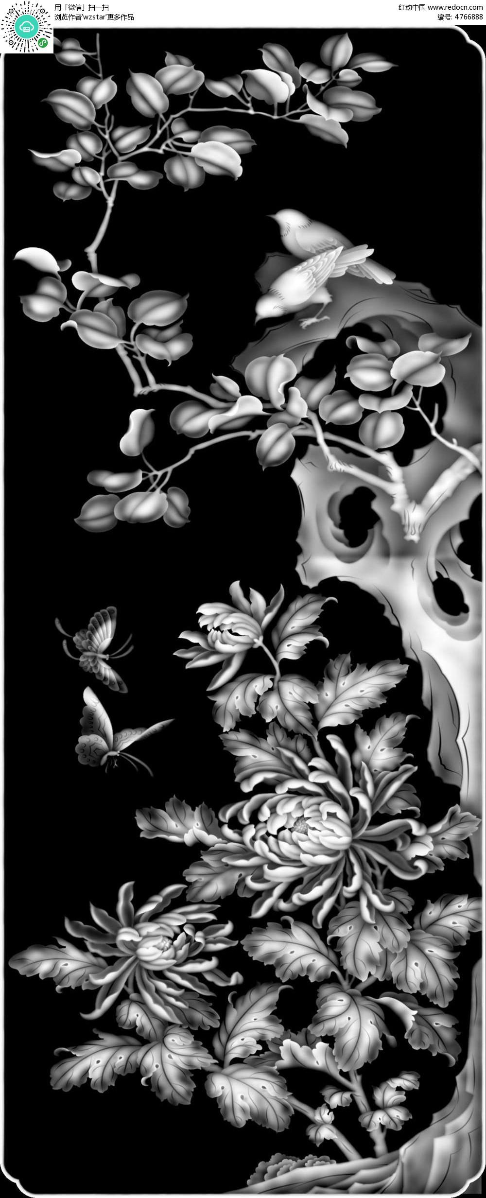 中国风树枝蝴蝶黑白浮雕画