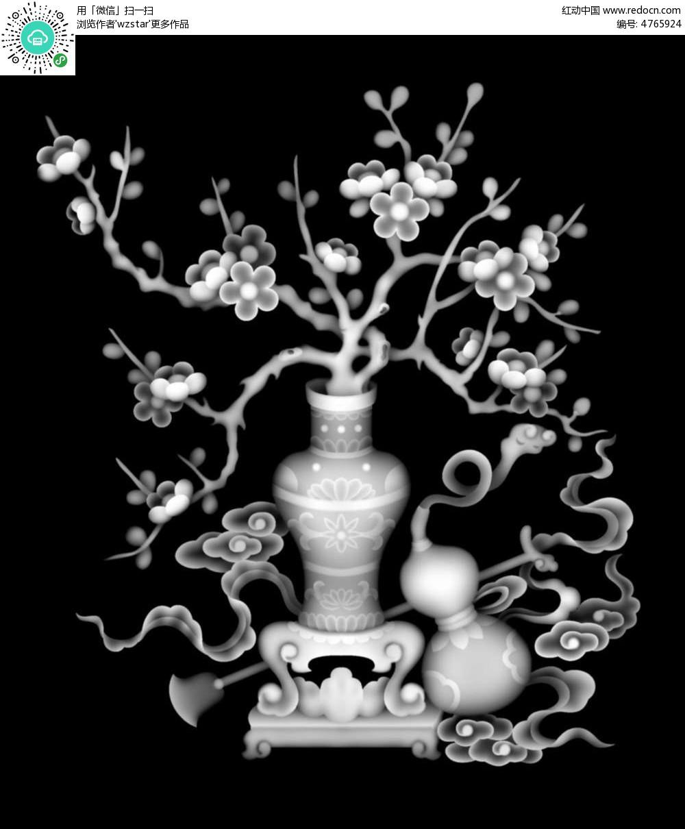 古代中国风花瓶花朵植物浮雕图其他素材免费下载 编号4765924 红动网