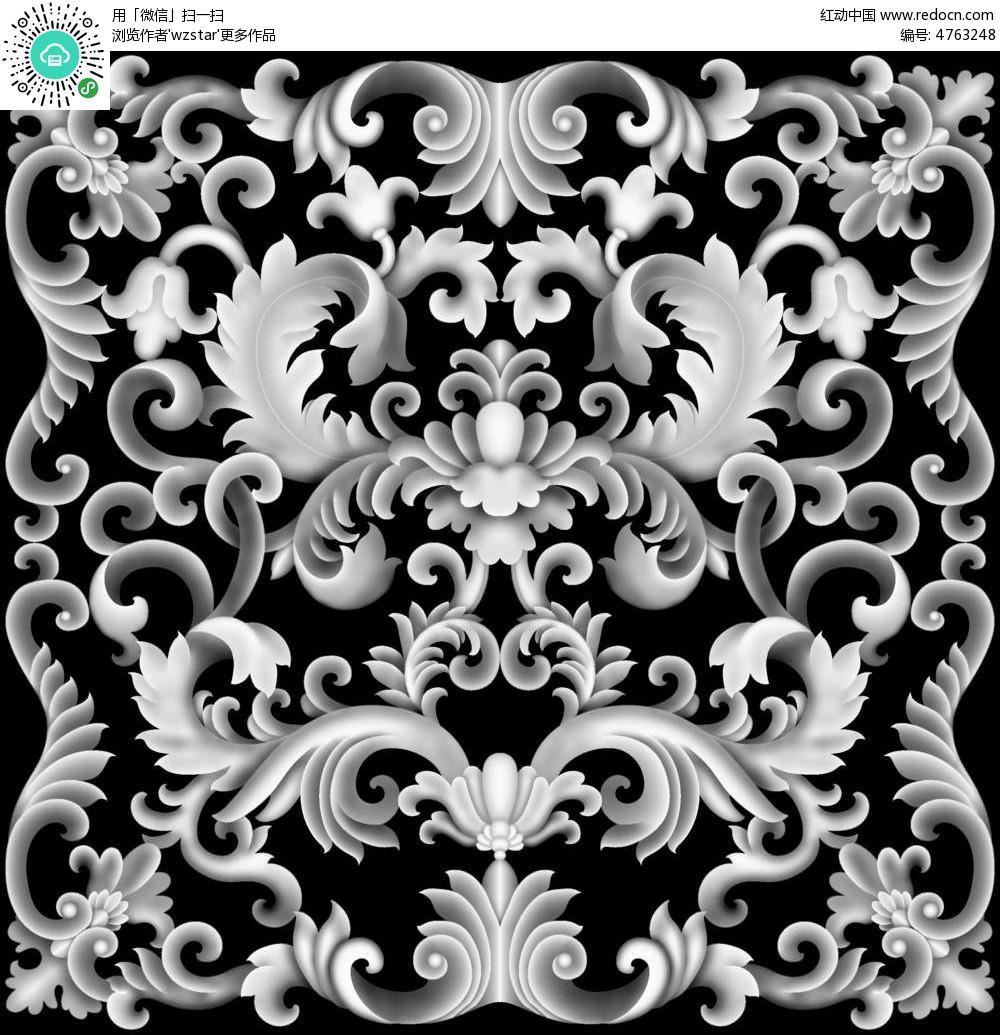 中国风花朵花纹黑白浮雕图图片