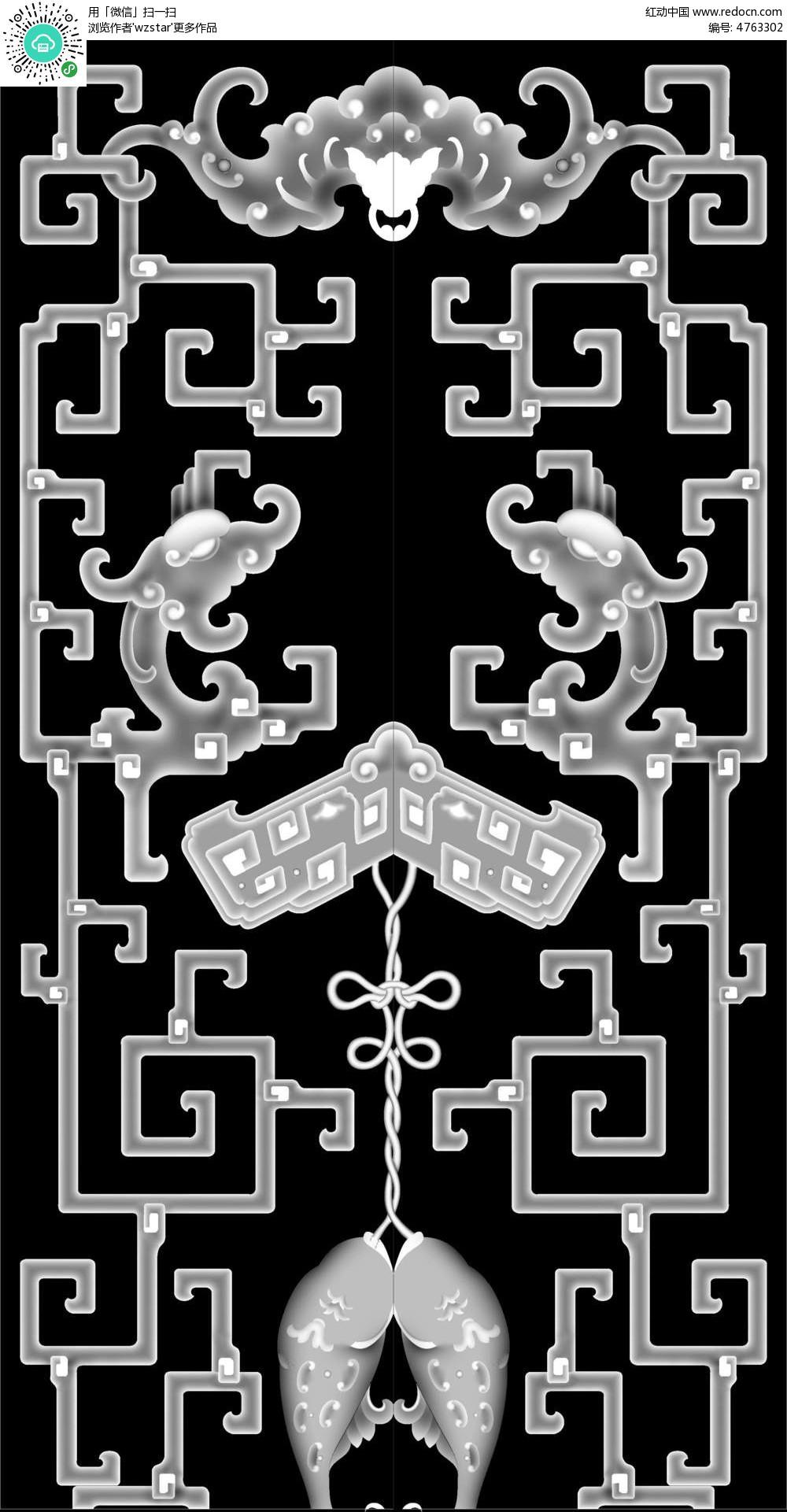 中式风格花纹边框浮雕画图片