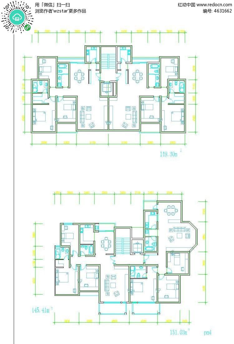 按面积分类的住宅户型平面图