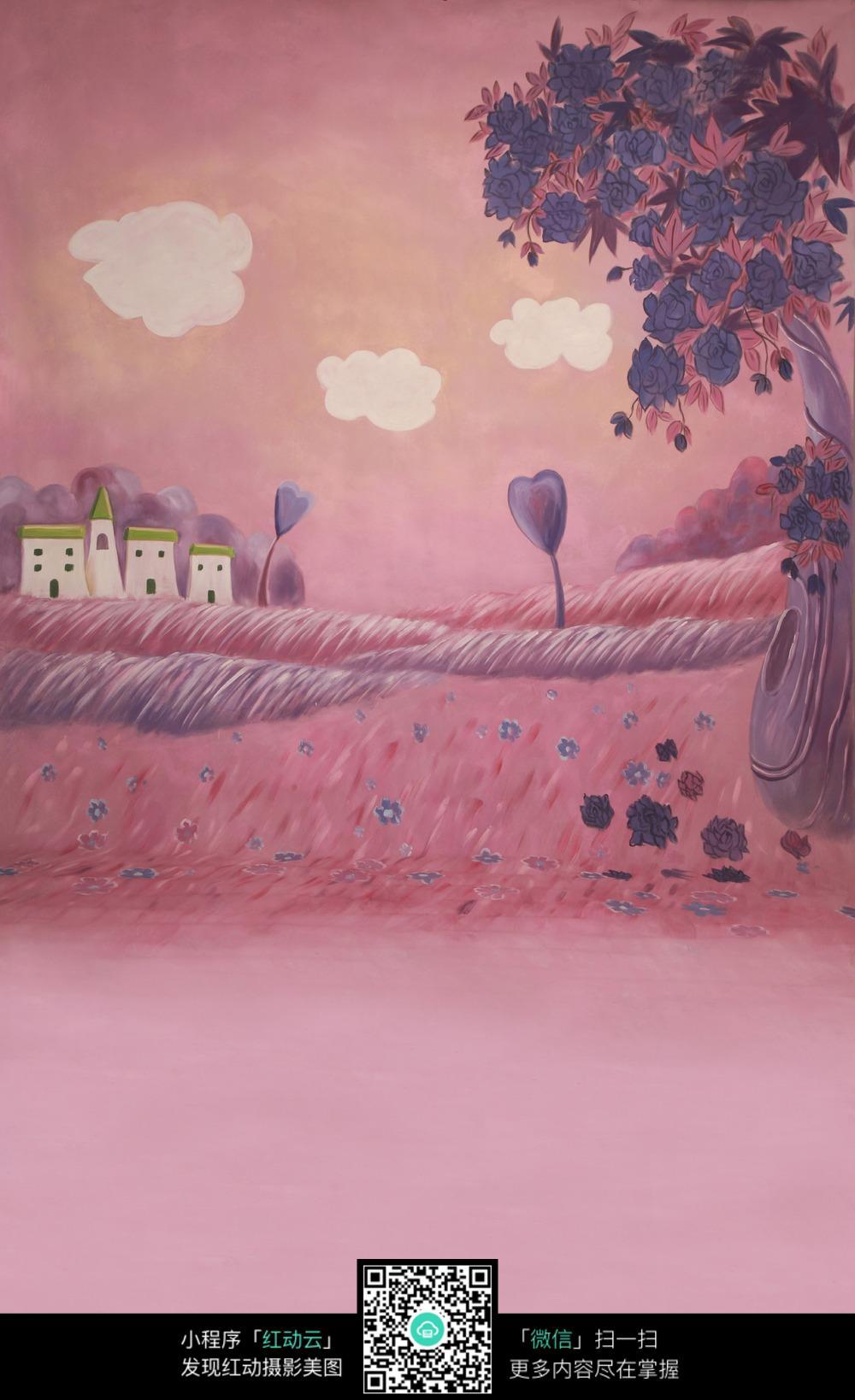 免费素材 图片素材 背景花边 其他 > 手绘风景图图片  暖色背景