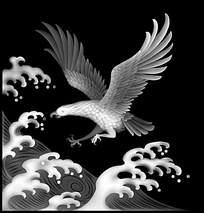 展翅飞翔的大鹏鸟浮雕画