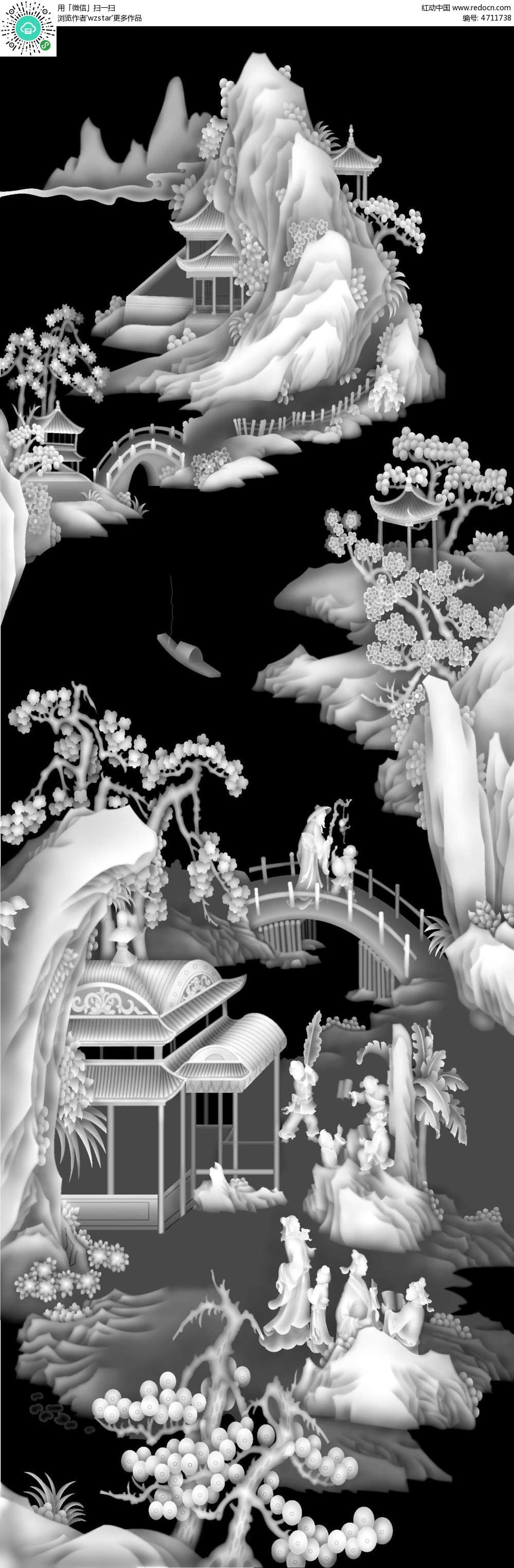 浮雕 浮雕灰度图 浮雕图模板 雕花 灰度图 黑白 精雕图 树木 凉亭