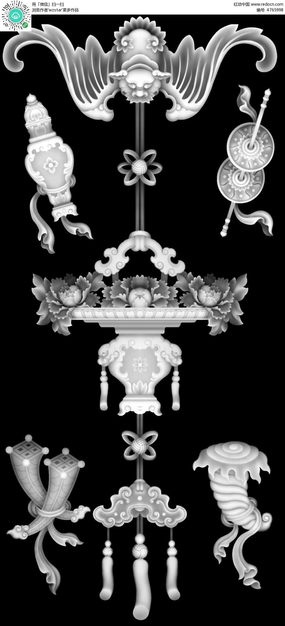 古代中式雕花黑白浮雕画图片