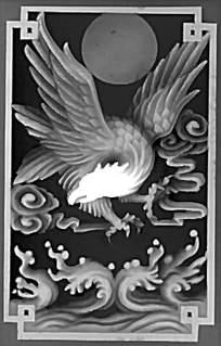 中国风大鹏展翅黑白精雕画