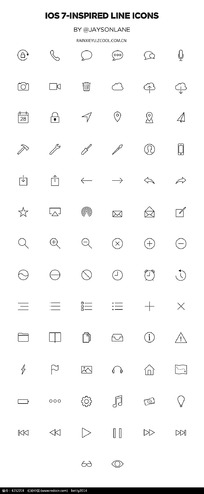 80个ios7手机app图标