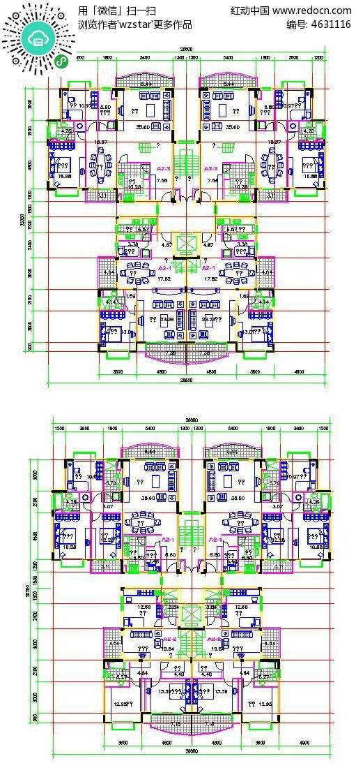 高层住宅平面图cad_小高层住宅楼户型CDA平面图CAD素材免费下载_红动网