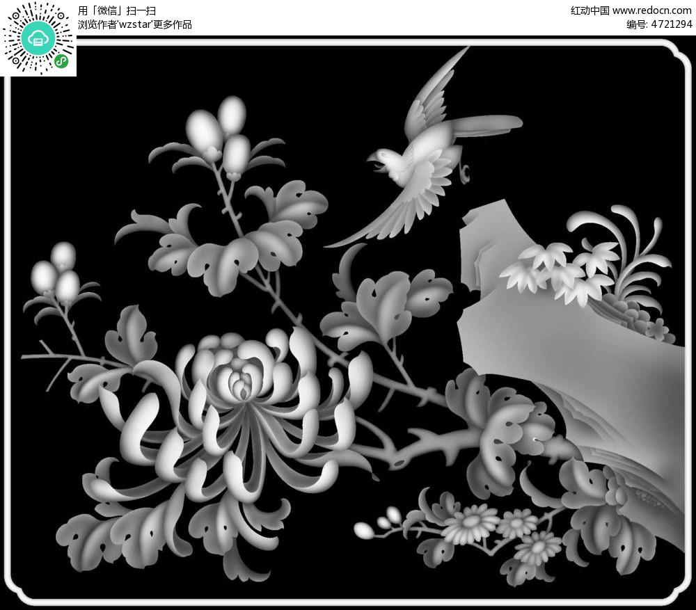 中国风花鸟画黑白浮雕图