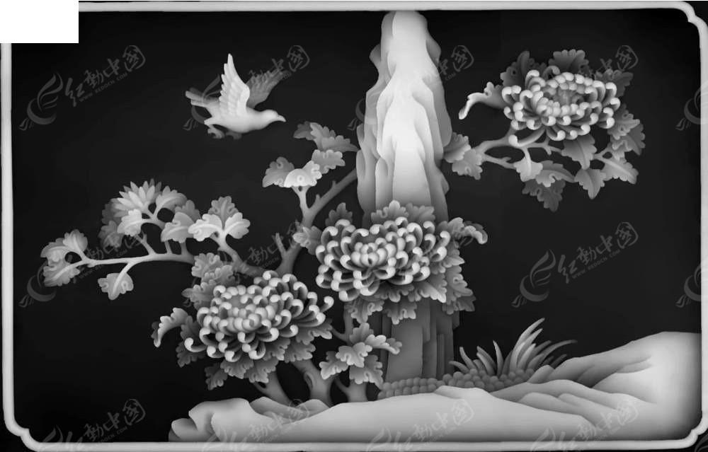 中式风格风景画黑白浮雕图