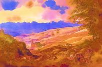 抽象风景绘画