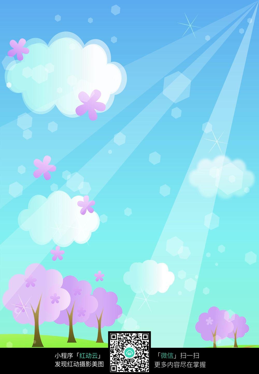 阳光树木卡通图