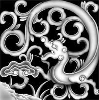 中式风格神兽龙图腾灰度图图片