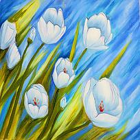 白色郁金香油画