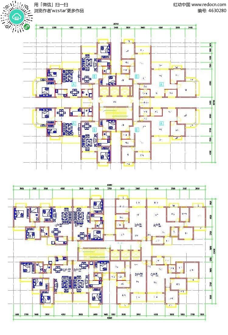 高层住宅户型cda平面图纸