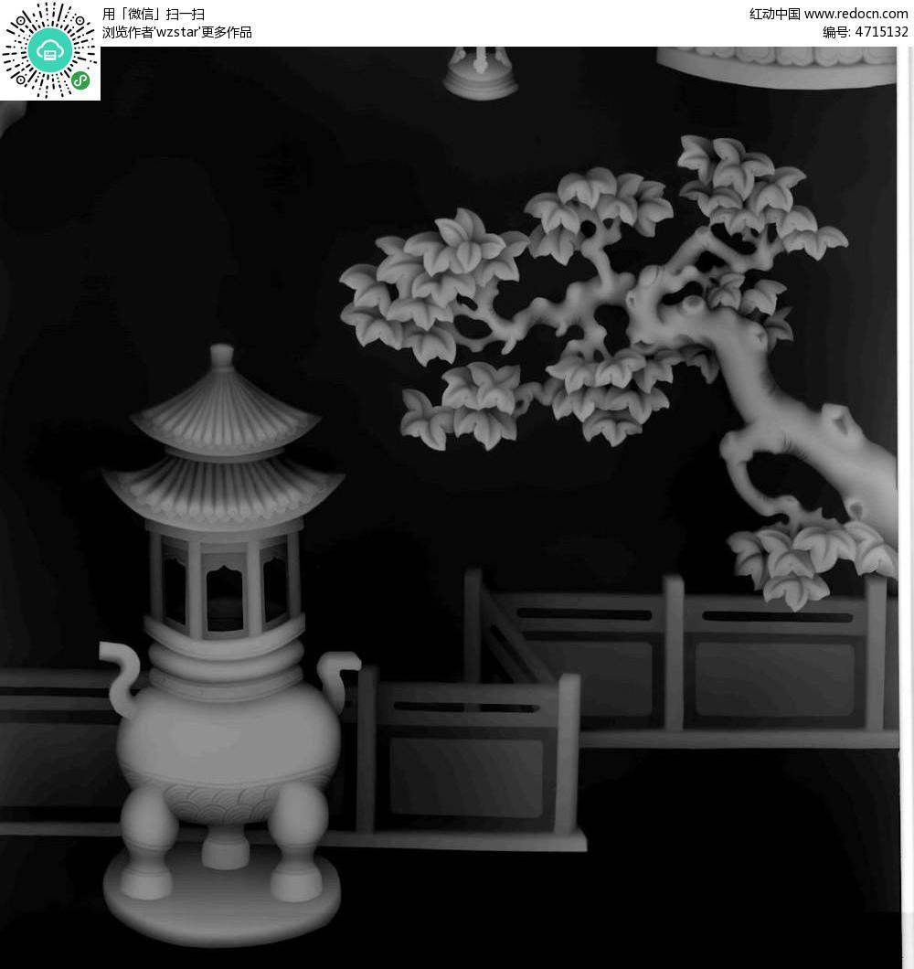 古代香炉 古代建筑 树枝 浮雕 浮雕灰度图 浮雕图模板 雕花 灰度图 黑