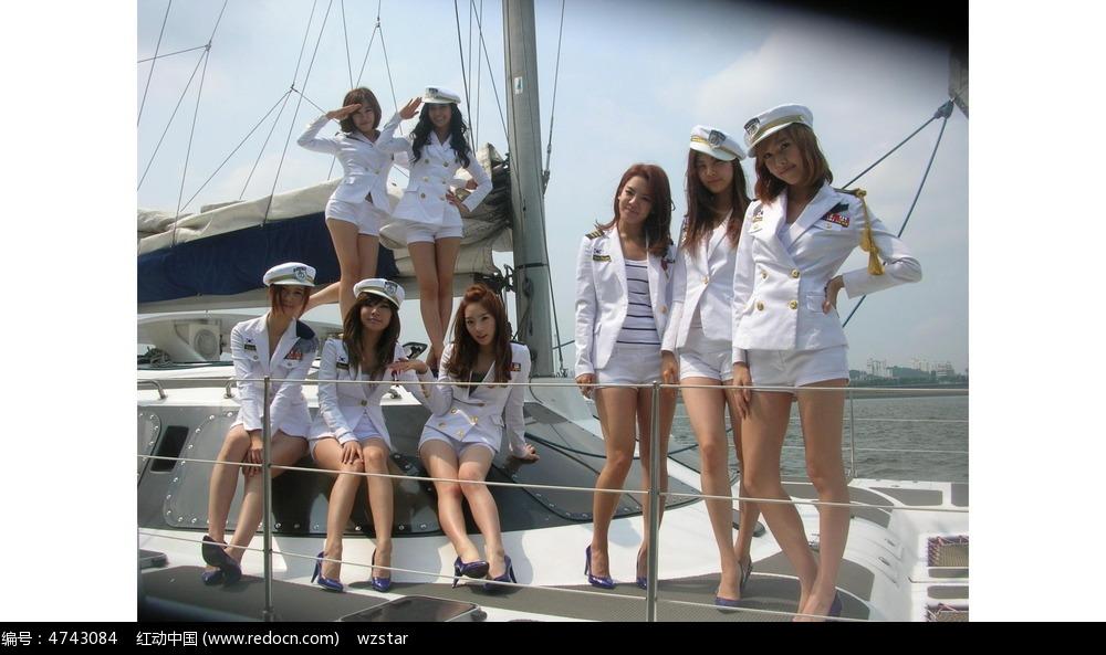 海军风女孩图片
