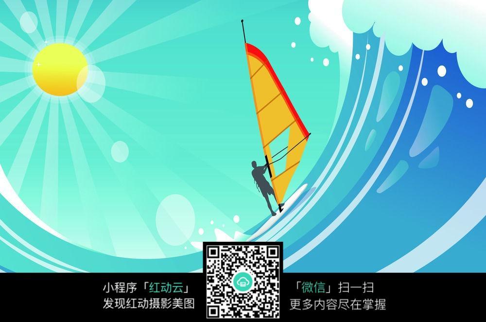 卡通帆船海浪背景图图片