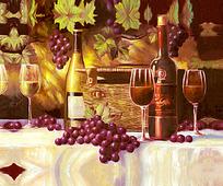葡萄架下的葡萄酒图
